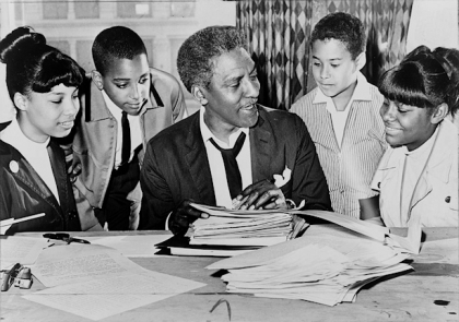Bayard Rustin speaking with students in 1965