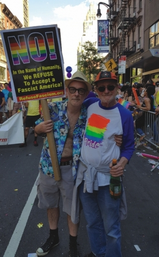 OUTloud co-publisher Jim Becker and partner/staff writer Jeffrey Clagett say 'No!' at NY Pride